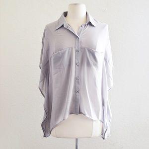 Tops - Gray Sheer Dolman Sleeve Layering Top Size Small